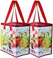 Earthwise Insulated Reusable Grocery Bag Shopping Tote with Zipper Top Lid Durable Thermal Collapsible Catering 2 Pack (Fruit)
