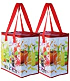 Earthwise Insulated Reusable Grocery Bag Shopping Tote with Zipper Top Lid Durable Thermal Collapsible Catering 2 Pack…