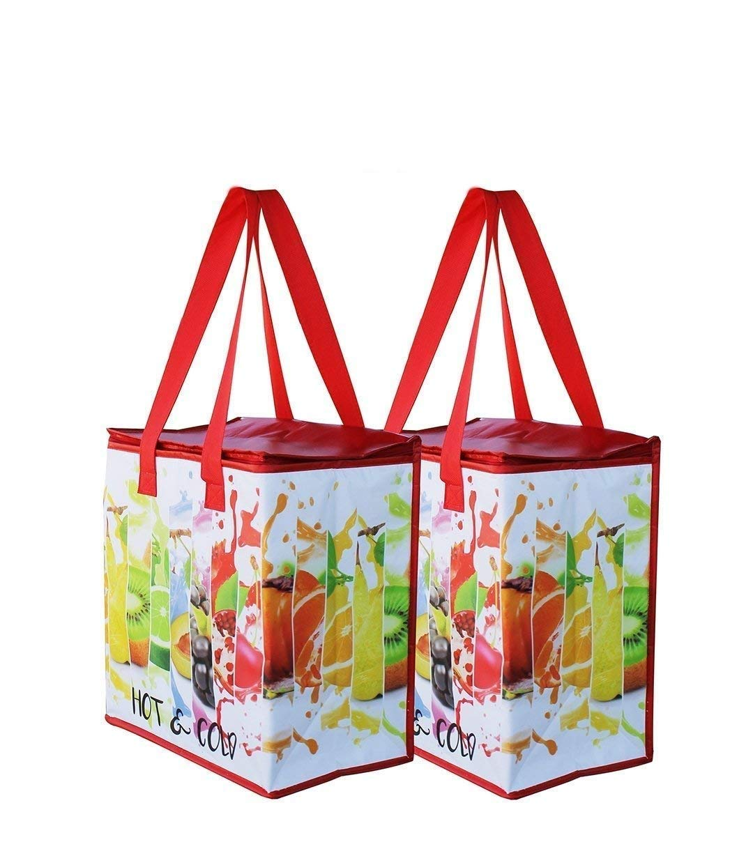 Earthwise Insulated Reusable Grocery Bag Shopping Tote with Zipper Top Lid Fruit Splash Print Thermal for Frozen or Hot Food Carrier Collapsible (Pack of 2) by Earthwise (Image #1)