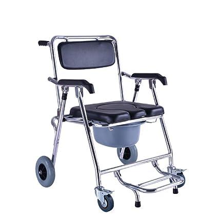 SOUMAO Alrededor de sillas de ruedas asiento de inodoro para los ancianos mover aluminio baño el