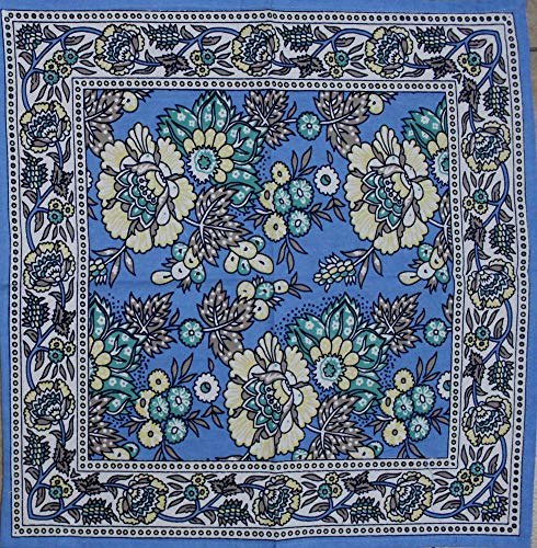 India Arts French Country Floral Print Napkin Square Cotton Table Linen Beach Sheet Beach Throw (Blue, Napkin 18 x 18 inches)