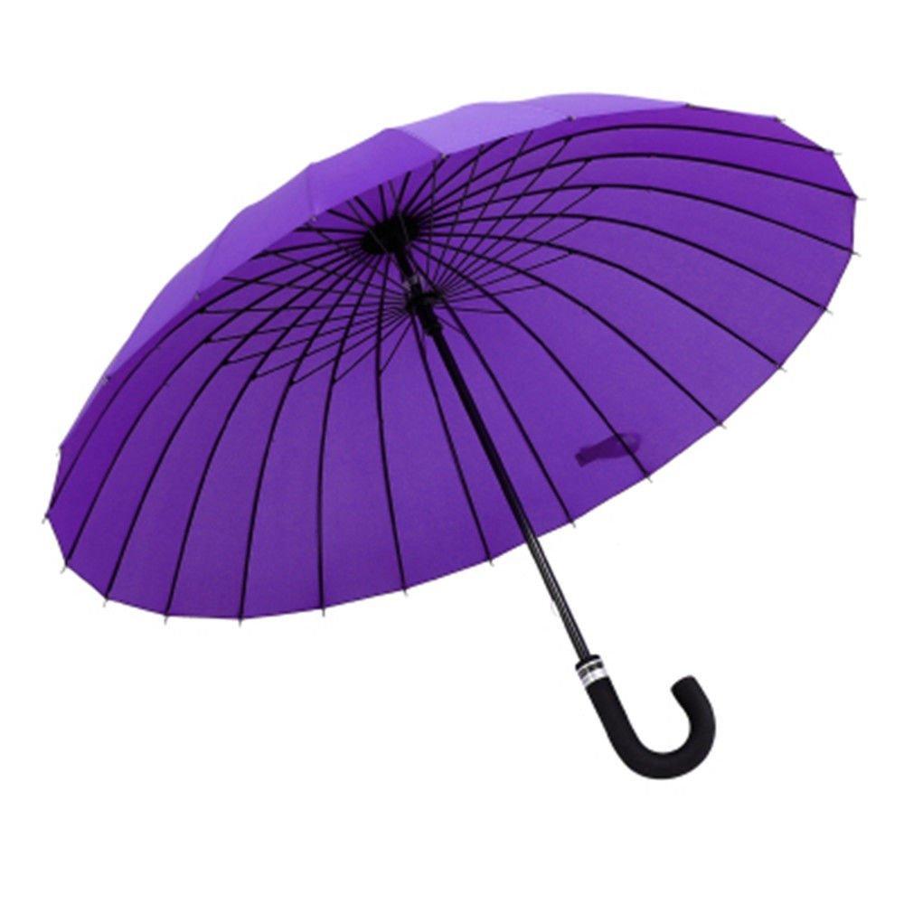 Guoke 24 Bones Long Handle Umbrella Queen-Size Reinforced Gender Bent Handle, A Fine Rain Umbrellas, Purple