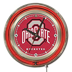 Holland Bar Stool Co. NCAA Ohio State Buckeyes Double Neon Ring Logo Clock, 15-Inch Diameter, Chrome