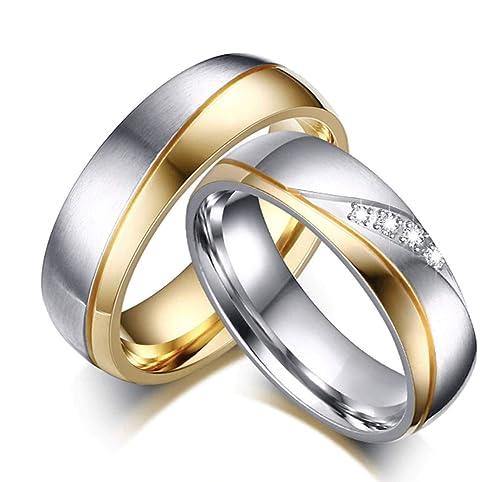 l'atteggiamento migliore 18ac9 093f8 DRG Gioielli Fedine Coppia Acciaio Lui e Lei Fidanzamento Argento Oro  satinate FEDI con incisioni Personalizzate Wedding