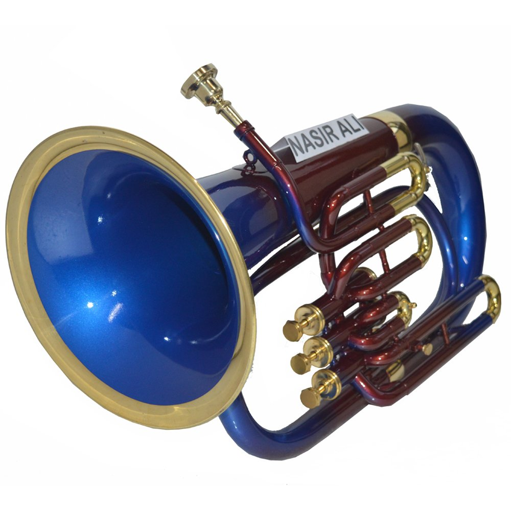 NASIR ALI NEW STUDEN`T MODEL AND BEAUTIFUL EUPHONIUM Bb PITCH BLUE + BRASS WITH FREE CARRY BAG AND MOUTH PIECE by NASIR ALI