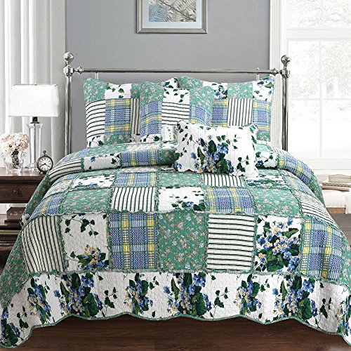 Cozy Line 3 Pcs Green Garden Country Lace Leaf Floral Pattern Patchwork Quilt Bedding Set, 100% Cotton Reversible Bedspread Coverlet Set, Full/Queen Size