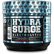 HYDRASURGE Electrolyte Powder - Hydration Supplement with Key Minerals, Himalayan Sea Salt, Coconut Water, More - 60 Servings (Keto Friendly) - Refreshing Fruit Punch Flavor