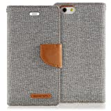 """iPhone 6S / 6 Case, [New Design] GOOSPERY® Canvas Diary [Denim Material] Wallet Case [ID Credit Card and Cash Slots] with Stand Flip Cover for Apple iPhone 6S / 6 (4.7"""") - Gray / Camel"""