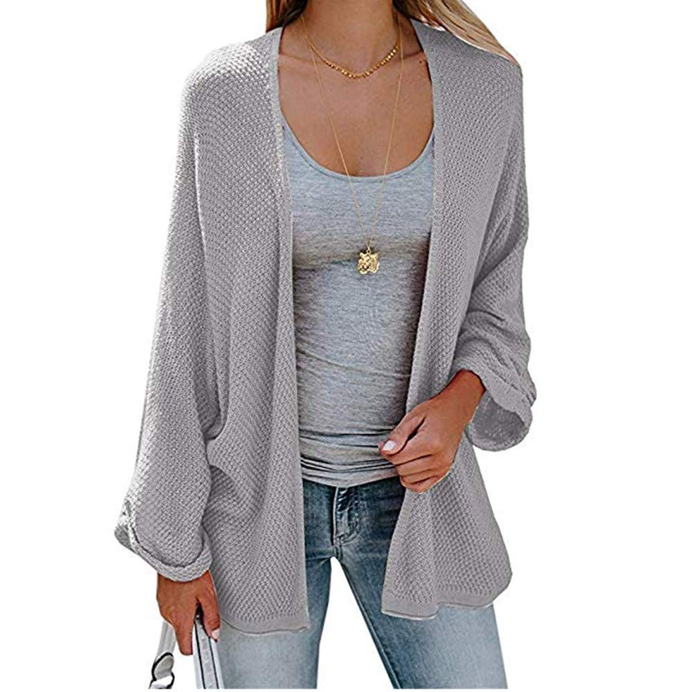 Pervobs Fashion Women's Solid Loose Fit Long Sleeve Knitted Coat Cardigan Tops