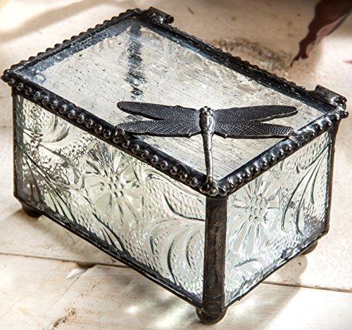 J Devlin Box 291 Dragonfly Collectible Trinket Box Botanical Textured Glass Keepsake Box