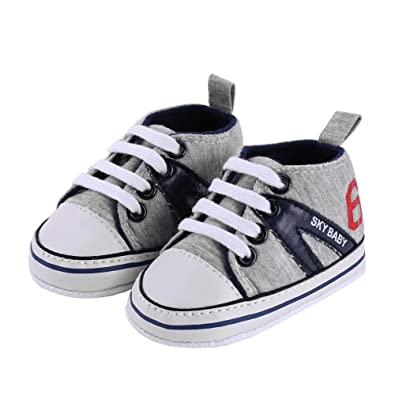 chinatera Newborn Baby Boys Girls Shoes Toddler Canvas Classic Sports  Sneakers Soft Sole Anti-Slip 2cf484e4f344