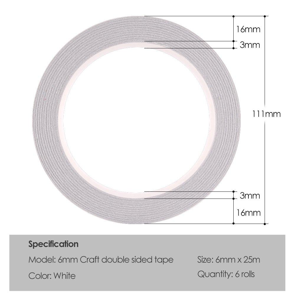 lartisanat 6mm x 25 m/ètres chaque rouleau FEPITO 6 rouleaux ruban adh/ésif double face ruban adh/ésif pour la couture le travail manuel