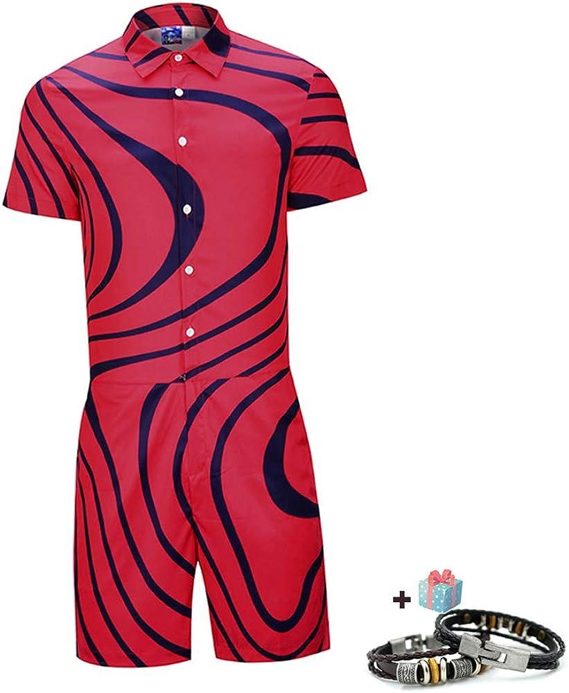 Morbuy Jumpsuit Hombre 3D Gr/áfico Impreso Mameluco Mono Camisa de Verano Onesies Playa Manga Corta