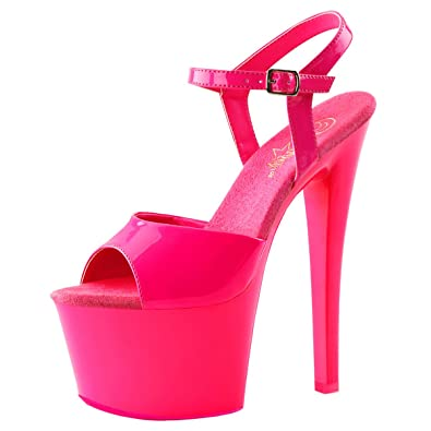 9e518707f3bc Summitfashions Womens High Heeled Shoes Hot Pink Platform Sandals Neon  Blacklight 7 Inch Heels Size