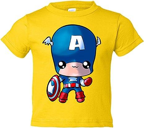 Camiseta niño parodia de Capitán America Kawaii - Amarillo, 3-4 años: Amazon.es: Bebé