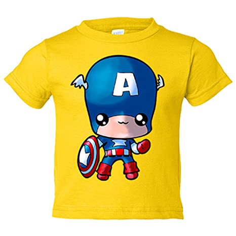 Camiseta niño Capitán America Kawaii - Amarillo, 3-4 años