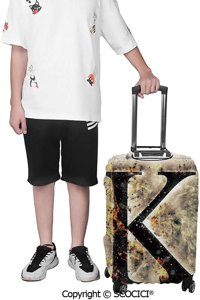 SCOCICI Luggage Suitcase Elastic Protective Covers Smoked Letter K Alphabet in Blaze with Grunge Design Ignited Writing Symbol for Men Women Travel Business