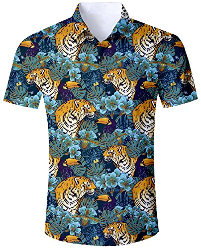 2019 Men's Casual Button Down Hawaiian Tiger Shirt Floral Short Sleeve Aloha Short Sleeve Unique Blouse Clothing Shirt ()