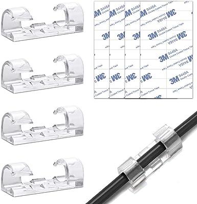 Pour c/âbles audio c/âbles dalimentation Lot de 50 clips de c/âbles adh/ésifs chargeurs