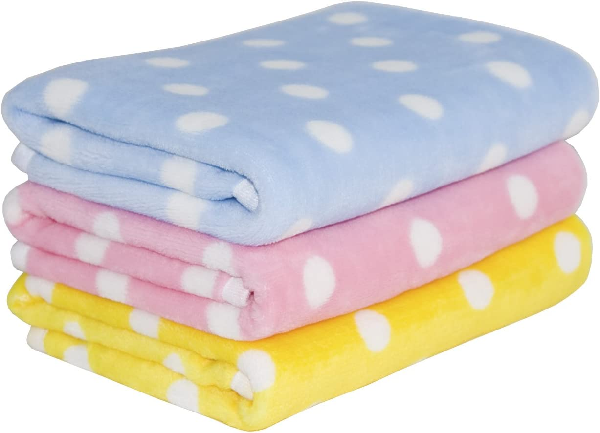 Lovely Baby Fleece Dog Blanket & Soft Puppy Cat Blanket for Car, Couch, Bed & Pink, Blue and Yellow 3 Pack 3 Colors : Pet Supplies
