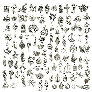 Wholesale Bulk Lots Jewelry Making Silver Charms Mixed Smooth Tibetan Silver Metal Charms Pendants DIY for Necklace Bracelet Jewelry Making and Crafting, JIALEEY 100 PCS