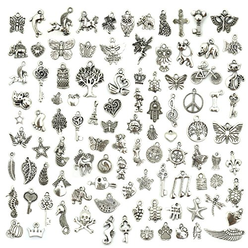 (Wholesale Bulk Lots Jewelry Making Silver Charms Mixed Smooth Tibetan Silver Metal Charms Pendants DIY for Necklace Bracelet Jewelry Making and Crafting, JIALEEY 100 PCS)