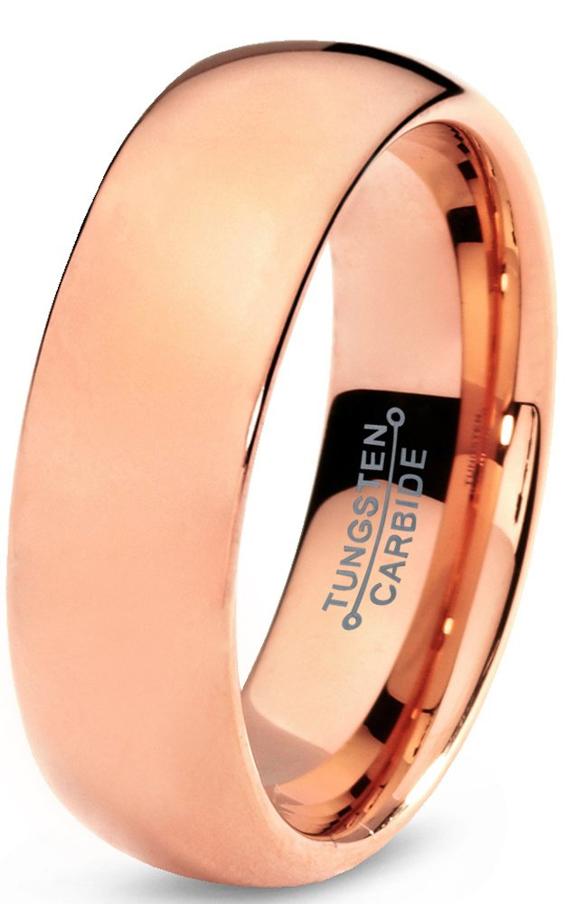 Charming Jewelers Tungsten Wedding Band Ring 7mm for Men Women Comfort Fit 18K Rose Gold Plated Plated Domed Polished Size 9.5