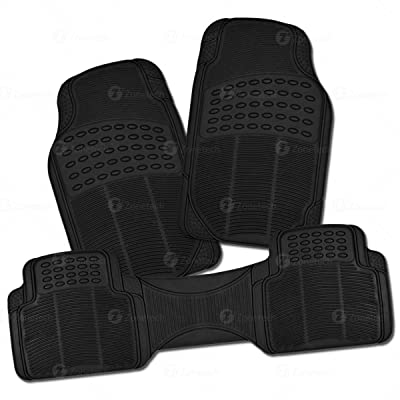 Zone Tech All Weather Rubber Semi Pattern Car Interior Floor Mats – 3-Piece Set Black Heavy Duty Car Interior Floor Mats: Automotive