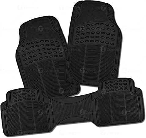 Zone Tech All Weather Rubber Semi Pattern Car Interior Floor Mats– 3 Piece Trimmable Waterproof Black Heavy Duty Interior Floor Mats Perfect for