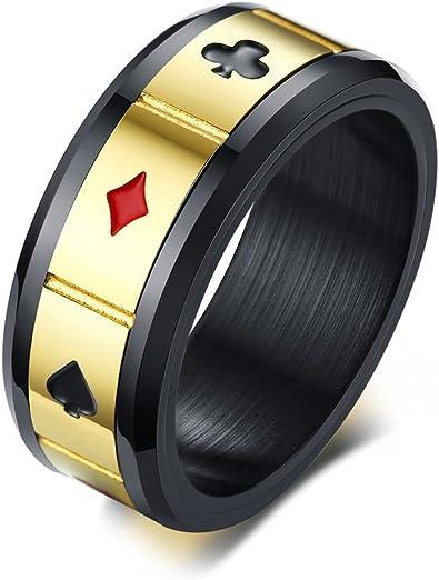 Anneau Homme Acier Noir Poker