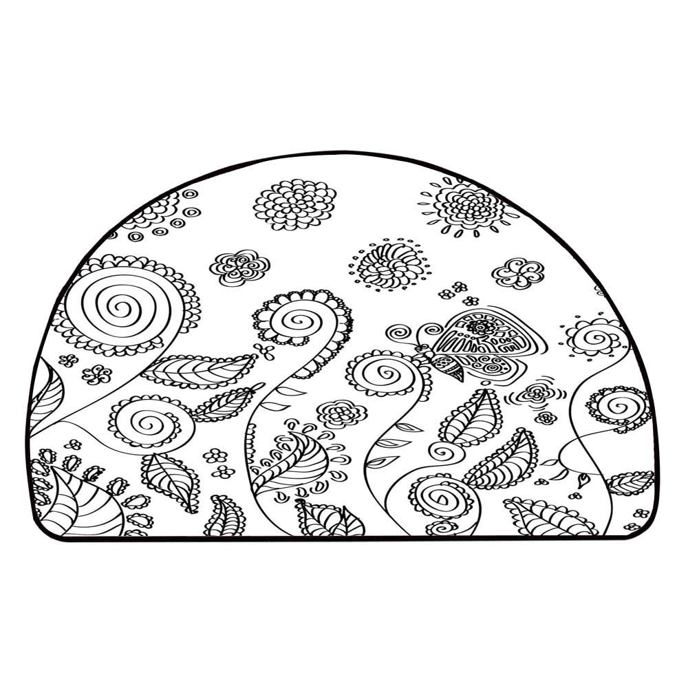 C COABALLA Floral Comfortable Semicircle Mat,Doodle Style Circular Swirled Flower Petals Butterfly Leaves Curved Branches Design for Living Room,11.8'' H x 23.6'' L