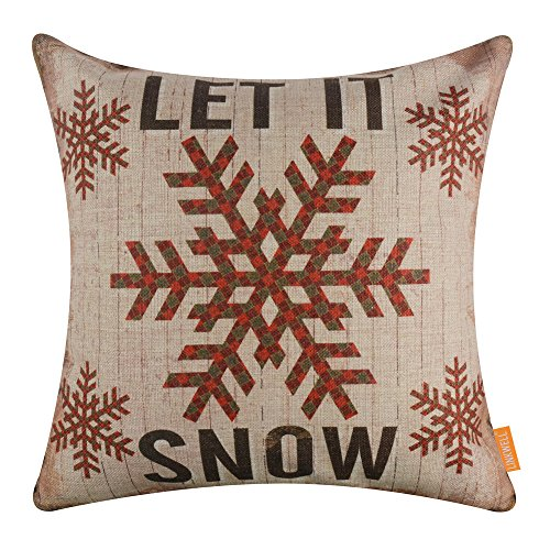 Outdoor Holiday Pillow (LINKWELL 18x18 inches Merry Christmas Let it Snow Burlap Throw Pillow Cover Cushion Cover (CC1341))