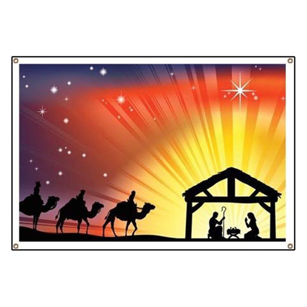 CafePress Christian Nativity Scene - Vinyl Banner, 44''x30'' Hanging Sign, Indoor/Outdoor
