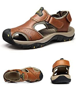 c93aaa26b95a VILOCY Mens Summer Sports Sandals Leather Closed-Toe Outdoor Sandals ...