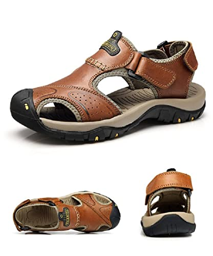 097ba9dcd T-Gold Mens Leather Walking Sandals Outdoor Closed-Toe Trekking Shoes(5 UK