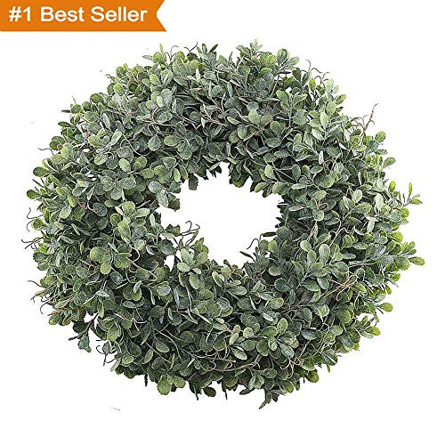 Magneticspace Artificial Green Leaves Wreath, 17