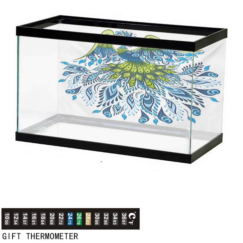 wwwhsl Aquarium Background,Peacock,Abstract Exotic Bird Figure with Stylized Long Tail and Wings Floral Swirled Leaves,Blue Green Fish Tank Backdrop 60'' L X 24'' H by wwwhsl