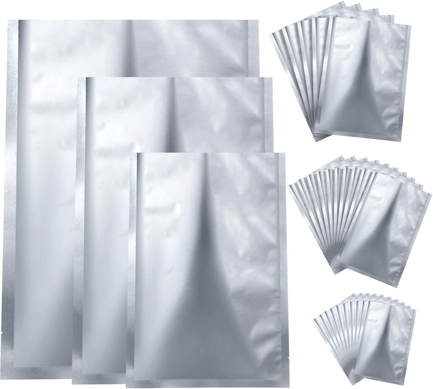 25 Pieces 3 Sizes Mylar Aluminum Foil Bags, Metallic Mylar Foil Flat Heat Sealing Bags Storage Bags Pouch for Food Coffee Tea Beans (6 x 9 Inch, 8 x 11 Inch, 10 x 14 Inch)