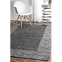 nuLOOM Handwoven Striped Border Solid Area Rugs, 3 x 5, Grey