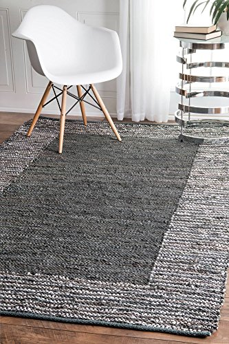 nuLOOM Porsha Moroccan Area Rug, 5' x 8', Grey - Origin: India Weave: Hand Woven Material: 90% Leather, 10% cotton - living-room-soft-furnishings, living-room, area-rugs - 61NR3am6JoL -