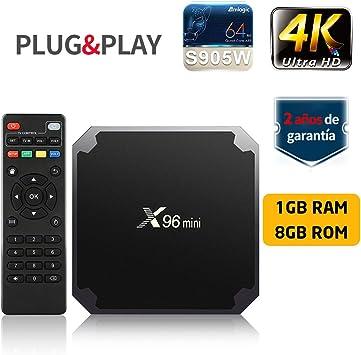 SUNNZO X96 Mini Android 7.1 TV BOX con procesador Amlogic S905W,Quad Core de 64 Bits 1GB RAM+8GB ROM,WiFi,4K HD,H.265 (1+8GB): Amazon.es: Electrónica