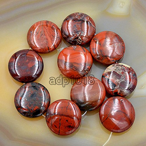 AD Beads Natural Gemstones 20mm Coin Round Beads 10pcs for Jewelry Design (Flower Jasper)