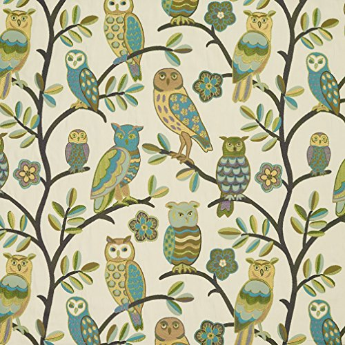 J9200A Teal Green and Gold Owls and Branches Woven Designer Decorative Novelty Upholstery Fabric by The Yard ()
