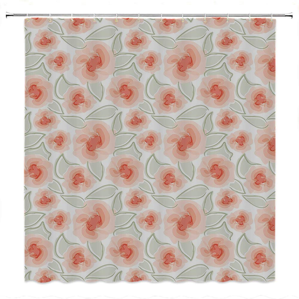 SATVSHOP European Style Bathroom Decoration-Durable Waterproof Fabric-Floral Macro ose Flower Petals Blossom Florets Buds in Misty Ton Purity Artwork Salmon Pale Green.W96 x L72 inch