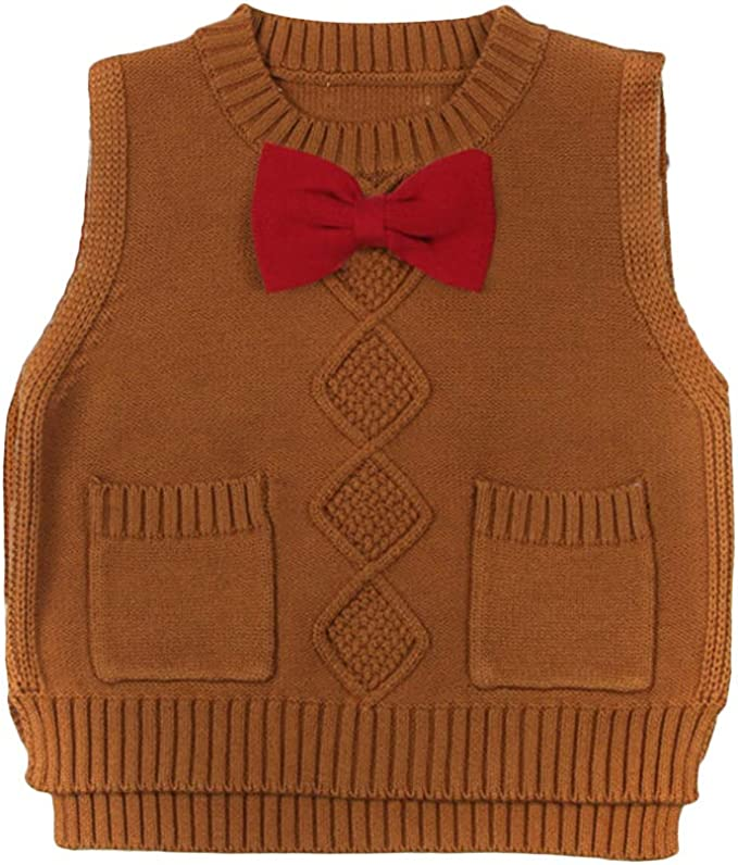 GEMVIE Toddler Kids Warm Knit Vest Sweater V Neck Casual Plain Pullover Sleeveless Waistcoat Knit Tank Top