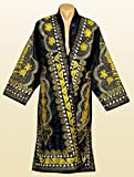 STUNNING UZBEK GOLD SILK EMBROIDERED UNISEX ROBE CHAPAN FROM BUKHARA A7513