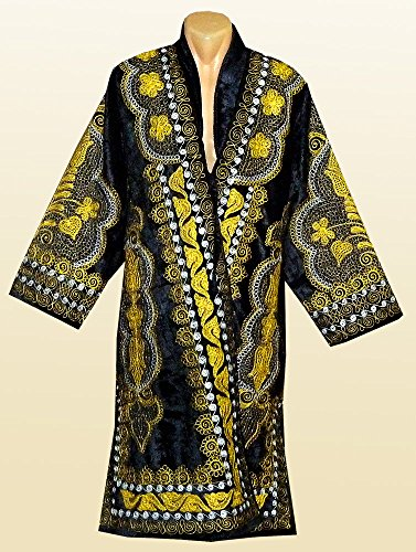 STUNNING UZBEK GOLD SILK EMBROIDERED UNISEX ROBE CHAPAN FROM BUKHARA A7513 by East treasures