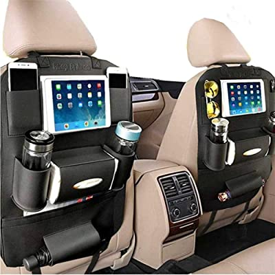 PALMOO Pu Leather Car Seat Back Organizer and iPad Mini Holder, Universal Use as Car Backseat Organizer for Kids, Storage Bottles, Tissue Box, Toys (1 Pack, Black): Automotive