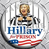 HILLARY FOR PRISON RALLY PACK BUTTONS! SIX Anti-CLinton Badges! 2.25 Inch BIG PINBACKS! Political Democrat Satire! Lock Her Up! Crooked Hillary