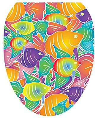 Toilet Tattoos, Toilet Seat Cover Decal,Fish Frenzy, Size Elongated